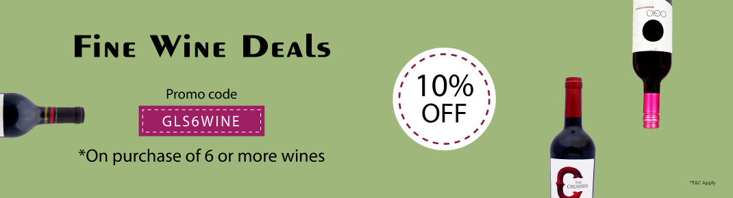 Wine offer on purchase of 6 or more wines